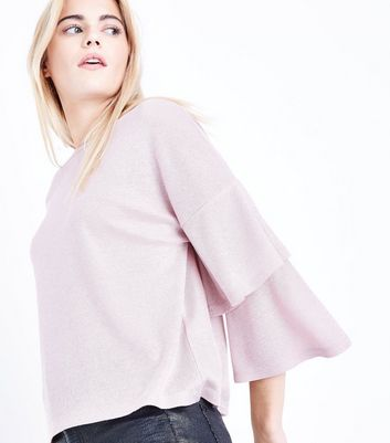 Pink Metallic Tiered Sleeve Fine Knit Top