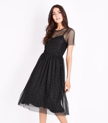 Black Metallic Spot Mesh Midi Dress