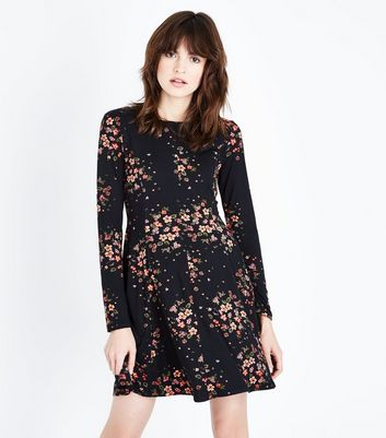 Blue Vanilla Black Floral Print Long Sleeve Dress