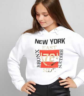 Ados -  Sweat blanc à capuche avec logo « Brooklyn »