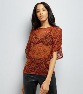 Rust Lace Split Frill Sleeve Top