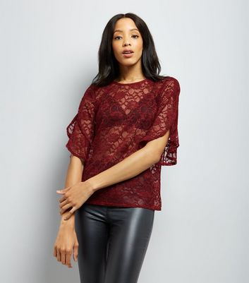 Burgundy Lace Split Frill Sleeve Top