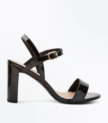 Wide Fit Black Patent Block Heel Sandals