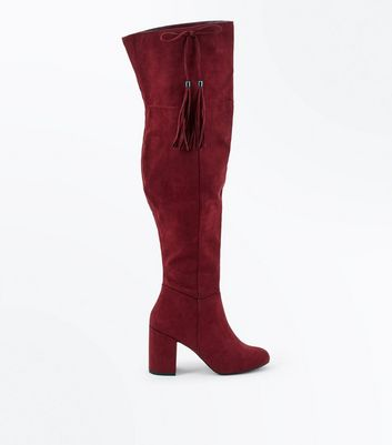 Burgundy Suedette Bow Tassel Side Over the Knee Boots
