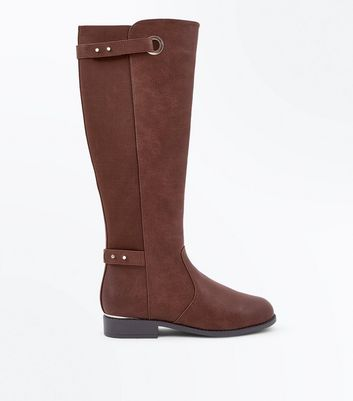 Brown Eyelet Strap Elastic Back Knee High Boots