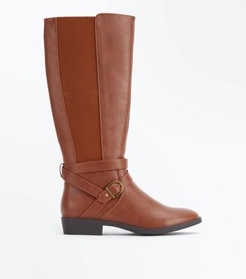 Tan Buckle Strap Knee High Boots