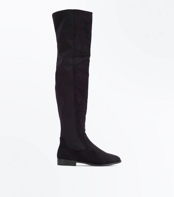 Black Suedette Flat Over the Knee Boots