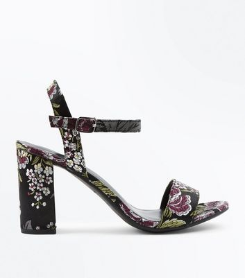 Black Satin Floral Brocade Block Heel Sandals