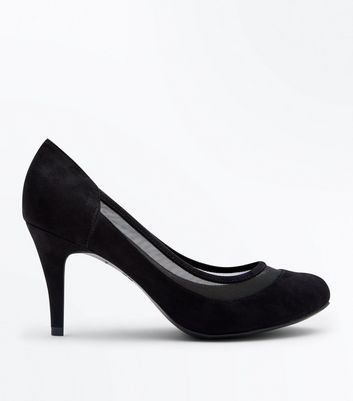 Wide Fit Black Suedette Mesh Trim Court Shoes