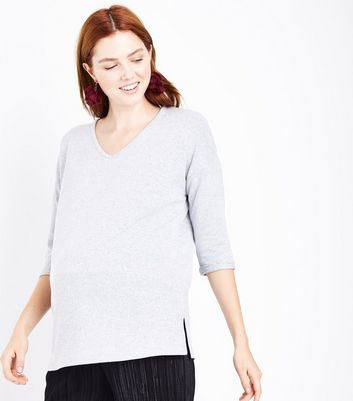 Maternity Grey Brushed Knit V Neck Jumper