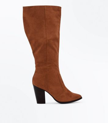 Wide Fit Tan Suedette Knee High Western Boots