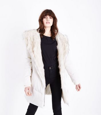 Cream Faux Fur Trim Asymmetric Puffer Jacket