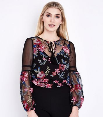 Black Floral Embroidered Mesh Bell Sleeve Top