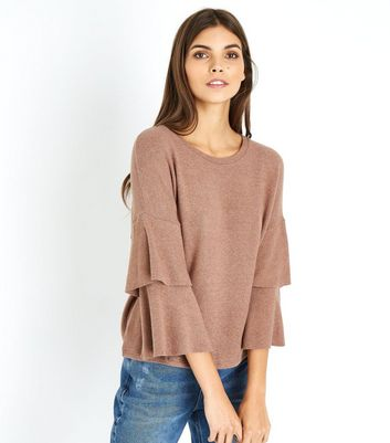 Camel Brushed Fine Knit Tiered Sleeve Top