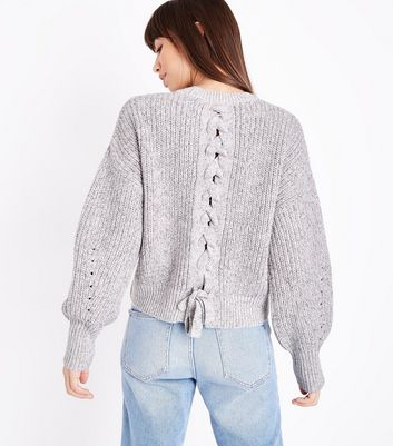 Pale Grey Pointelle Lace Up Back Jumper