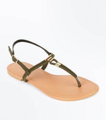 Khaki Suedette Metal Trim Toe Post Sandals