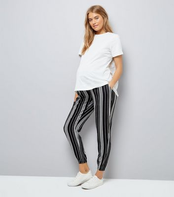 Maternity Black Stripe Elasticated Hem Joggers