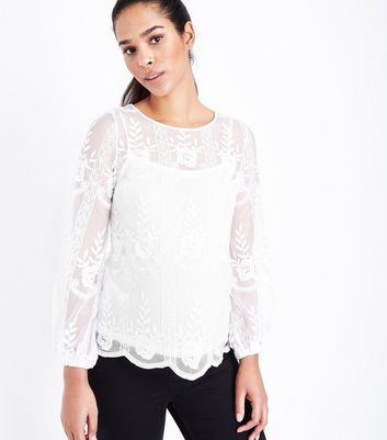 Maternity Cream Sheer Embroidered Balloon Sleeve Top