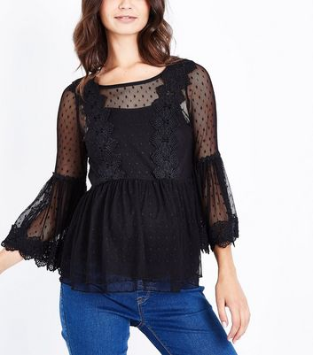 Maternity Black Bell Sleeve Double Peplum Lace Top