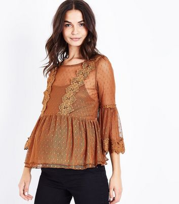 Maternity Rust Bell Sleeve Double Peplum Lace Top