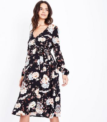 Maternity Black Floral Button Front Midi Dress