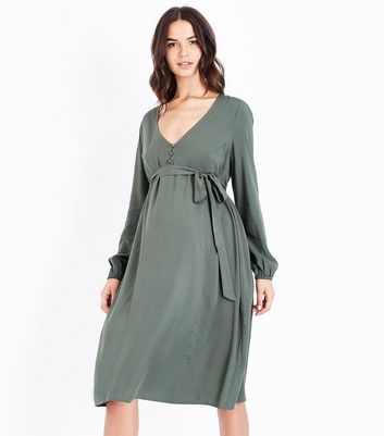 Maternity Khaki Button Front Midi Dress