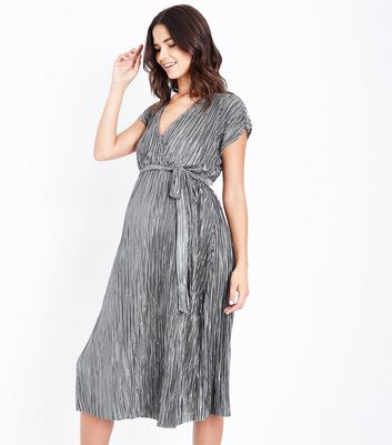 Maternity Grey Plisse Wrap Dress