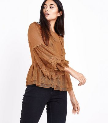 Petite Rust Bell Sleeve Double Peplum Lace Top