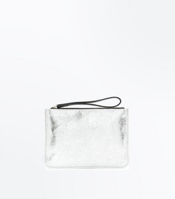 Silver Leather Wrist Pouch