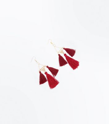 Burgundy Triple Tassel Drop Earrings