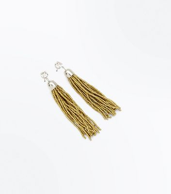 Gold Bead Tassel Drop Earrings