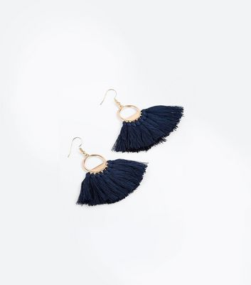 Navy Tassel Fan Earrings