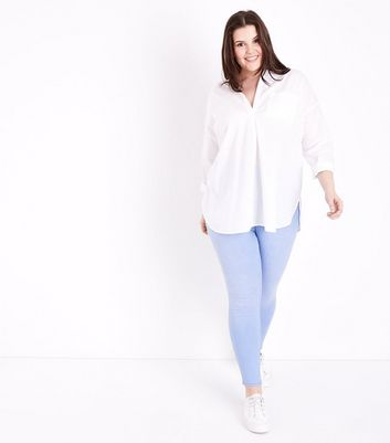 Curves Pale Blue Bleach Wash Jeggings