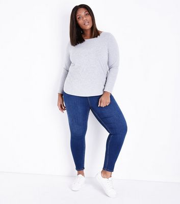 Curves – Marineblaue Skinny Jeans in Rinse-Waschung