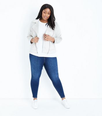 Curves Navy Rinse Wash High Waist Jeans by New Look