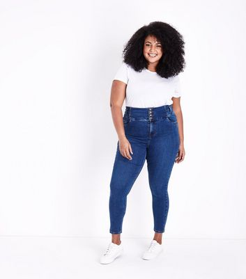 Curves Blue Rinse Wash High Waist Skinny Jeans