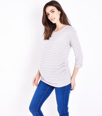 Maternity Light Grey Stripe 3/4 Sleeve T-Shirt