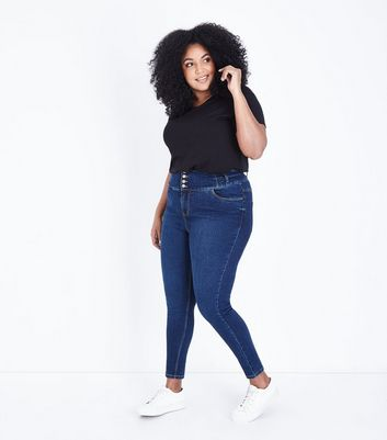 Curves Navy Rinse Wash High Waist Skinny Jeans