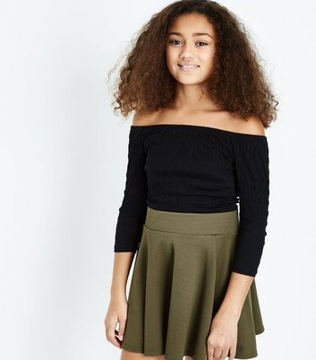 Teens Black Shirred 3/4 Sleeve Bardot Top
