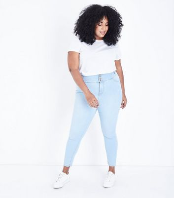 Curves Pale Blue High Waist Bleach Wash Jeans
