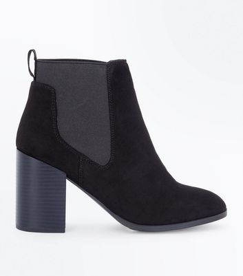 Black Suedette Tab Back Chelsea Boots