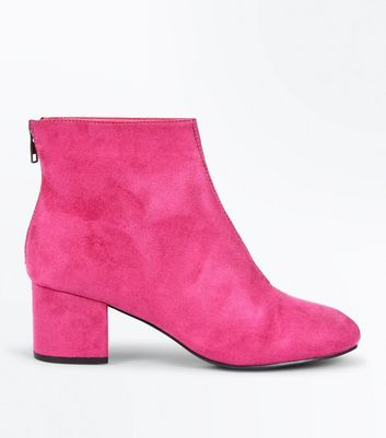 Bright Pink Suedette Block Heel Ankle Boots
