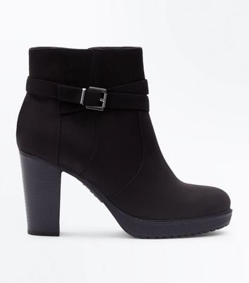 Black Suedette Strap Side Wooden Heel Boots
