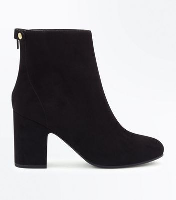 Black Suedette Popper Zip Back Heeled Boots