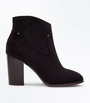 Black Suedette Square Toe Heeled Western Boots