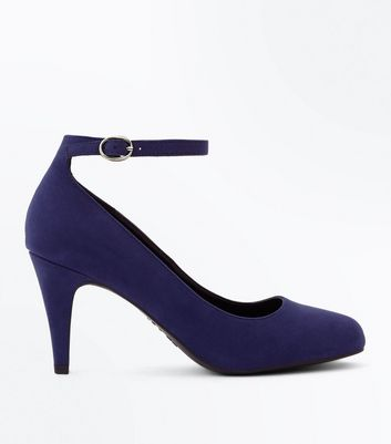 Navy Suedette Round Toe Ankle Strap Courts