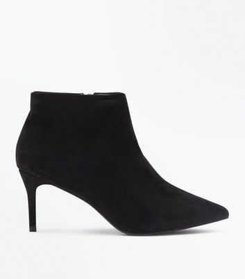 Wide Fit Black Suedette Stiletto Heel Boots