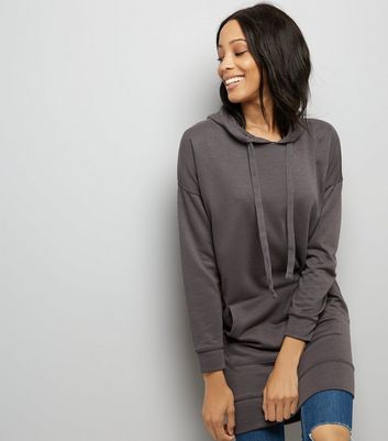 Dark Grey Pocket Front Longline Hoodie