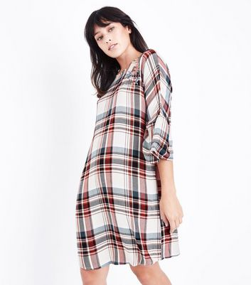 Off White Floral Embroidered Check Dress