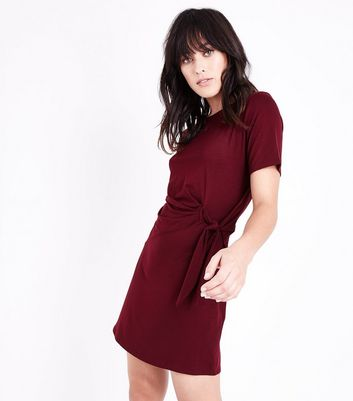 Burgundy Ruched Tie Side Tunic Dress